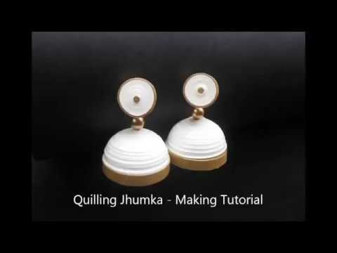 How to make a quilling paper earrings || quilling jhumka || easy earring making