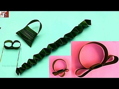 How to Make Coconut Leaf Toys |  DIY Coconut Leaf Basket, Leech, Spectacles, Watch and Finger Ring