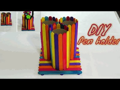How to make Pen holder | DIY Popsicle stick pen holder | Popsicle stick Crafts | DIY