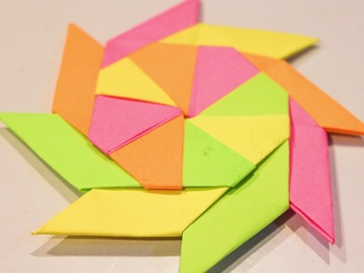 Origami: How To Make Ninja Stern Fan with Sticky Notes