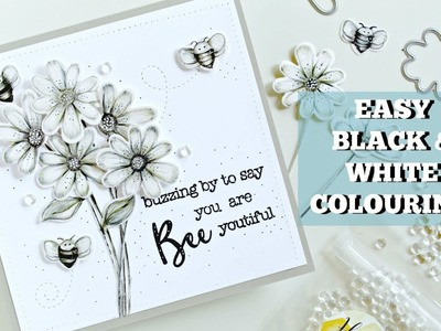 Black and white colored pencils with Honey Bee Stamps