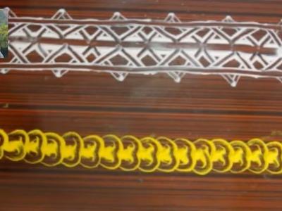 Border Rangoli Part - 11| Finger Magic | Easy Border Rangoli Design | Nidhi Jain