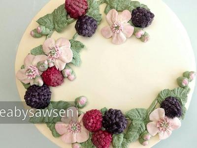 Buttercream blackberry, raspberry and blossom wreath cake - tutorial 5.6 - relaxing cake decorating