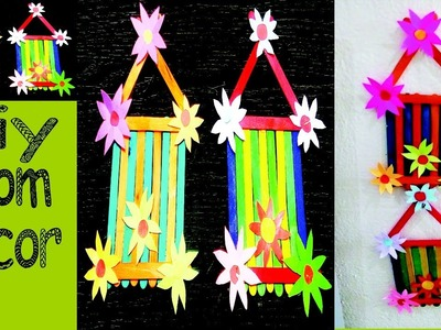 DIY ROOM DECOR!Popsicle Sticks Wall Hanging with Handmade Paper Flower-Easy Tutorials