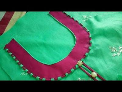 Dori&piping round neck design cutting and stitching in Hindi