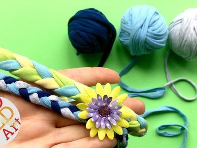 Easy T shirt Yarn Hairband DIY   Repurposed Tshirt Project