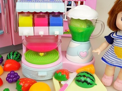 Fruit Ice cream shaker and Baby doll refrigerator toys play