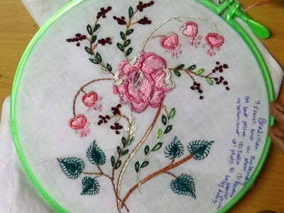 Hand Embroidery Flower Work Designs # 102- Brazilian Embroidery Rose Design
