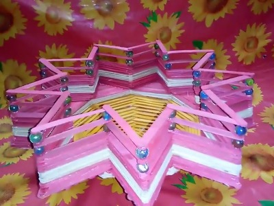 How to Easily Make a Popsicle Stick Flower Basket    Popsicle Stick Craft    Ice Cream Stick Craft