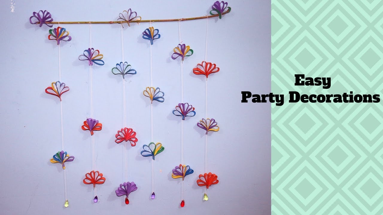 How to make a Hanging Paper Decoration - Easy Party Decorations on Budget - Paper Flowers Garland