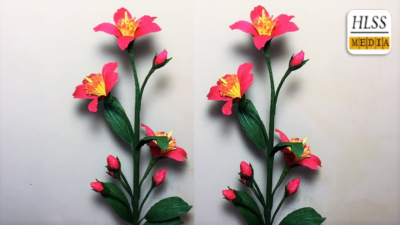 How To Make Hypercium Paper Flower Diy Hypercium Crepe Paper Flower