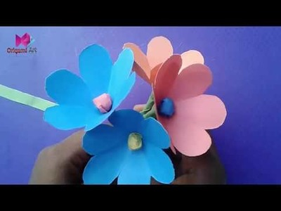 How To Make Simple Easy Paper Flower।Origami flower for kids।Easy Origami flower