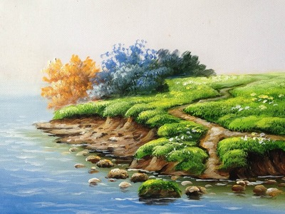 How to Paint  Riverbank with Acrylics lesson 1