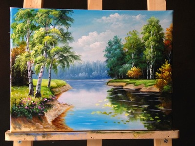 How to Paint Riverbank with Acrylics Lesson 3