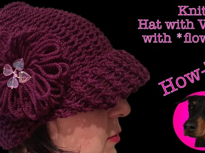 Knitting - Hat with Visor with flower