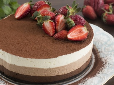 No-Bake Triple Chocolate Mousse Cake Recipe