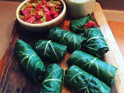 Raw Vegan Collard Green Wraps -Easy How To. Tahini dip :)