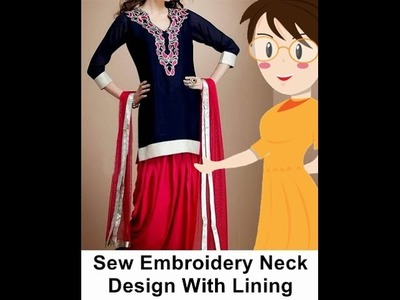 Sew Embroidery Neck Design With Lining In English - Tailoring With Usha