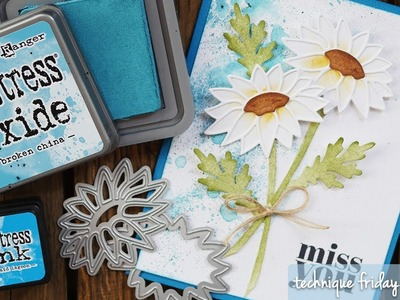 Springtime Daisy Card with Distress Oxide Background | Technique Friday with Els