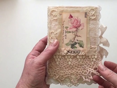 Vintage Fabric and Lace journal - for swap on JJJ