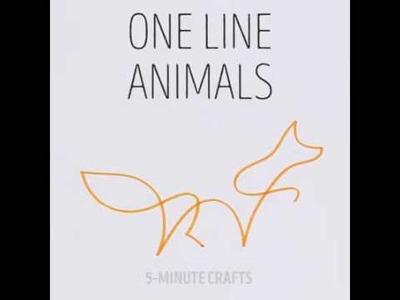 5-Minute Crafts   One line animals