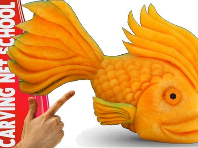 Art in pumpkin, arte em abóbora, Peixe em abóbora, Fish in pumpkin, tallado en frutas