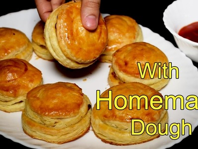 Chicken Patties Recipe With Homemade Dough - Chicken Puff Pastry Recipe by Kitchen With Amna