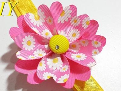 Como Hacer Lazos ???? DIY #118 Flor de Cinta en Cintillo Tutorial