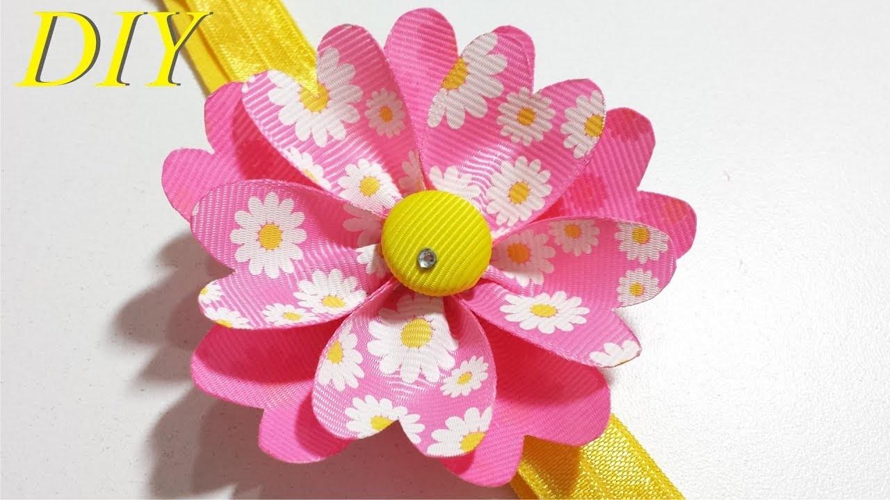 Como Hacer Lazos DIY 118 Flor de Cinta en Cintillo Tutorial
