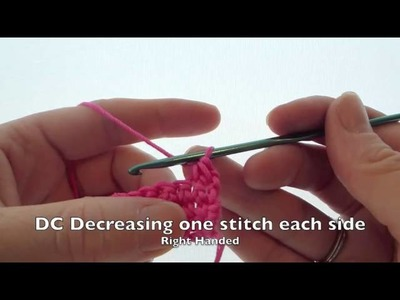 Decreasing by 1 double crochet at the beg & end of a row (RH)