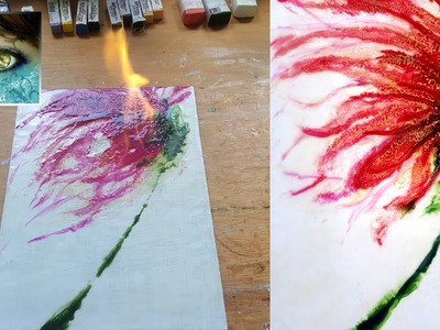 Encaustic Beeswax Painting Tutorial #2 - Learn How To Do a Shellac Wet Burn