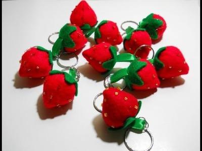 Felt Strawberry Keychain Tutorial