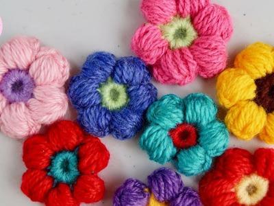 Flor en punto puff a crochet, paso a paso
