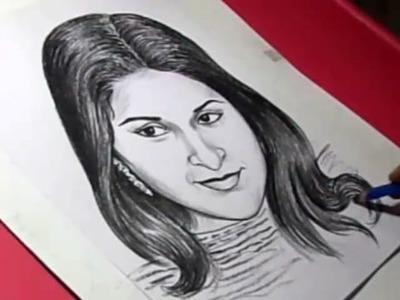 How to Draw Tamil FILM HERO VIJAY WIFE Drawing