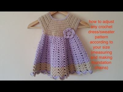 How to make crochet dress.sweater according to your desired size