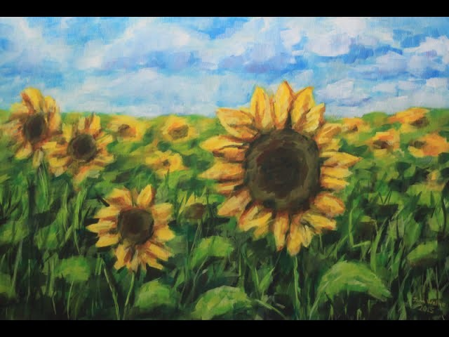 How to paint a field of Sunflowers with Acrylic