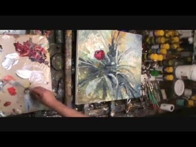 Palette knife painting demo. modern contemporary art, floral,flowers,How to. technique
