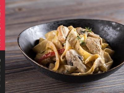 Pappardelle noodles with chicken a la crème| Akis Kitchen