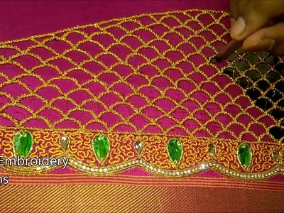 Simple maggam work blouse designs | hand embroidery designs | embroidery stitches by hand for blouse