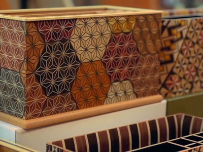 The Japanese yosegi art of gluing colored wood and cutting it into thin sheets for decoration
