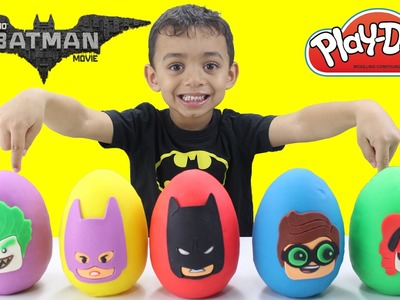 The LEGO Batman Movie Play Doh Surprise Eggs - LEARNING COLORS with Toy Surprises Mystery Toys