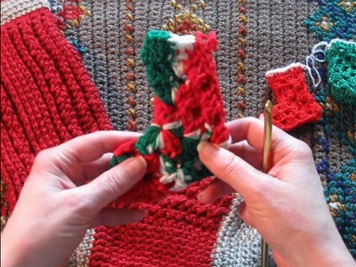 Tutorial Beginner Crochet ~ Mini Merry Hexi Stocking ~ Christmas in July CAL 2017
