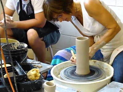 Virginia Scotchie showing her students how to pull up clay into a cylinder Part 2