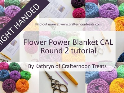 Week 2 tutorial (RIGHT handed): The Flower Power Blanket CAL