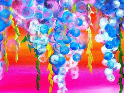 ????Abstract  Dripping Wisteria Flowers???????? Acrylic Painting on Canvas????