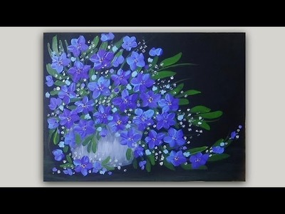 Acrylic Painting Blue Violet Flowers in a Vase