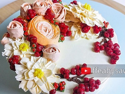 Beautiful Bouquets 5.5: red berry buttercream flower wreath cake tutorial - relaxing cake decorating