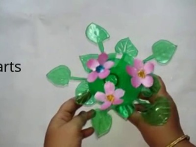 Best out of the waste. Plastic bottle flowers show piece. Recycled bottle gift ideas