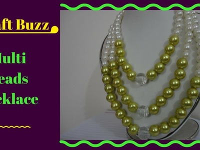( Craft Buzz ) Multi Beads Necklace For Beginners Project - How To Make Tutorial