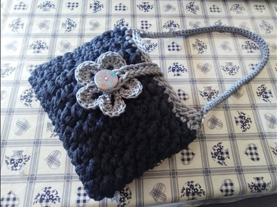 CROCHET BAG WITH FETTUCCIA AND CORD quick and easy tutorial